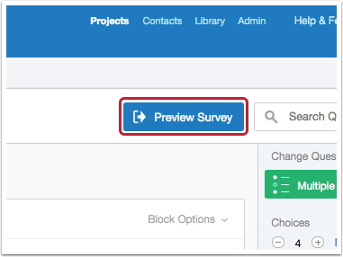 Preview survey button