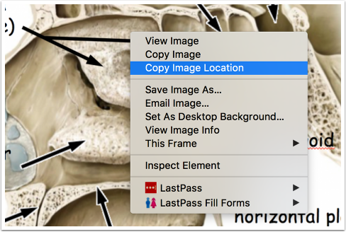 Image location context menu