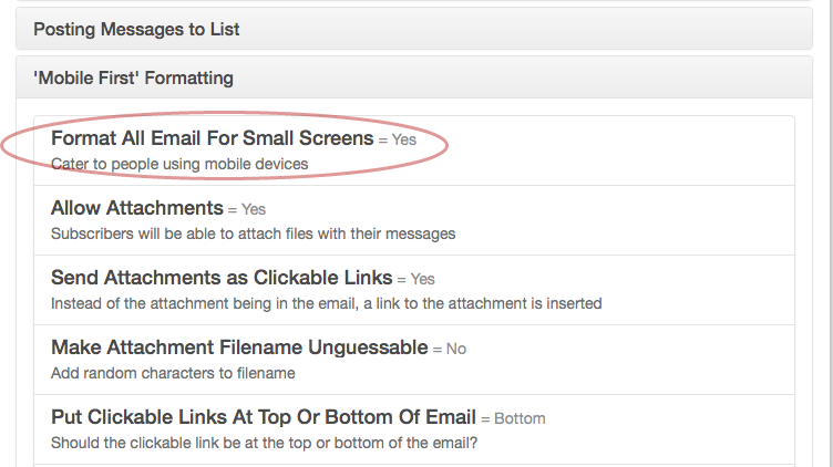 "Click on ""Allow Attachments"" under ""Mobile First"" Formatting section:"