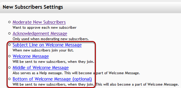 "Log into your mail-list account and click on ""New Subscribers Settings"":"