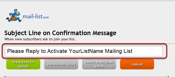 Change the default Subject Line if you wish: