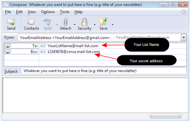 To post messages to your Announcement List, you need to put the secret address in the BCC field