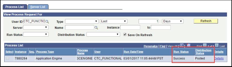 Process List tab - Run Status