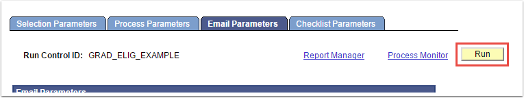 Email Parameters tab - Run button