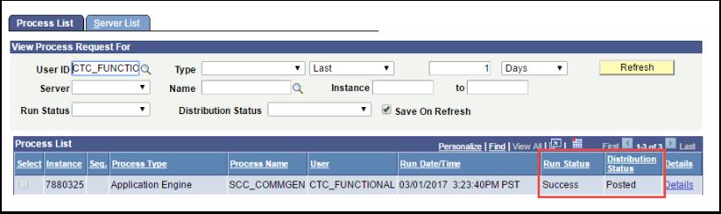 Process List - Run Status