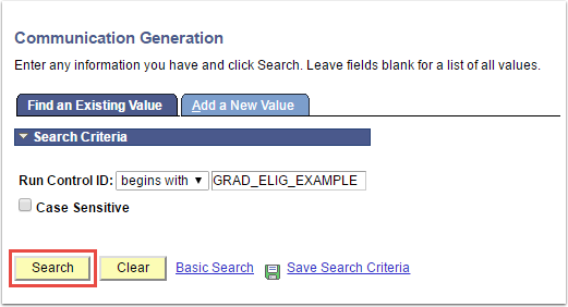 Communication Generation - Find an Existing Value tab