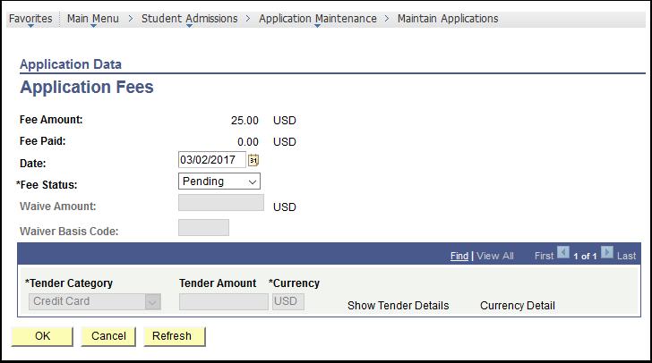 Application Data - Application Fees
