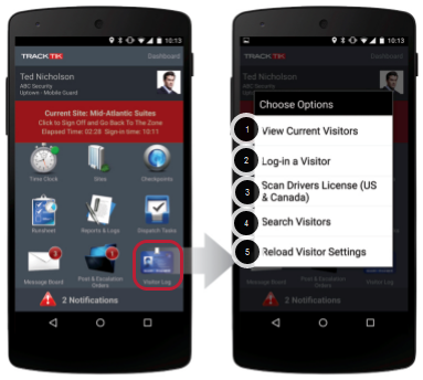 Overview of Options in Visitor Management Mobile
