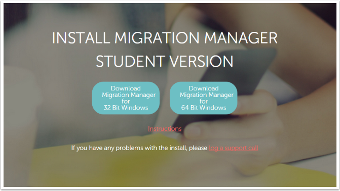 Choose which Windows version of Migration Manager to download