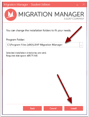 Select the location where you want to install Migration Manager Student Version
