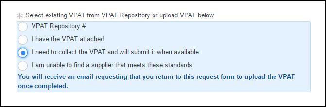 Collect VPAT option