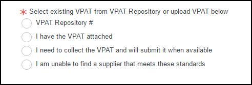 Select VPAT option