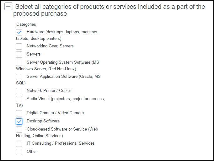 Purchase categories