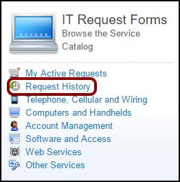 IT Request Forms menu