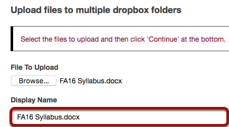 Select the file to be uploaded.