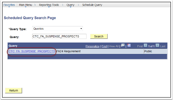 Schedule Query Search Page