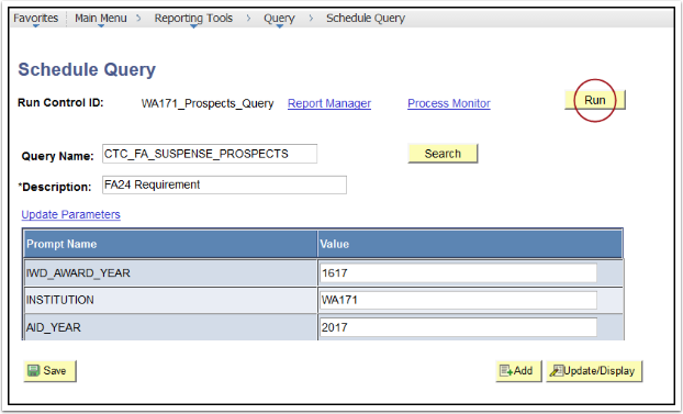 Schedule Query page