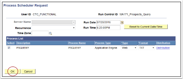 Process Scheduler Request page
