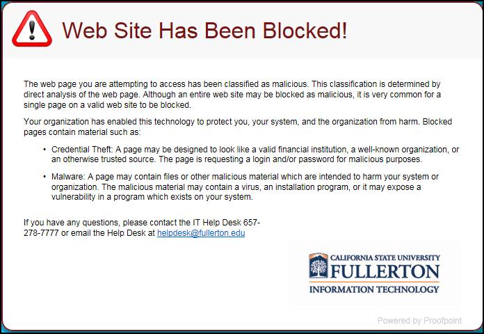 Website blocked message