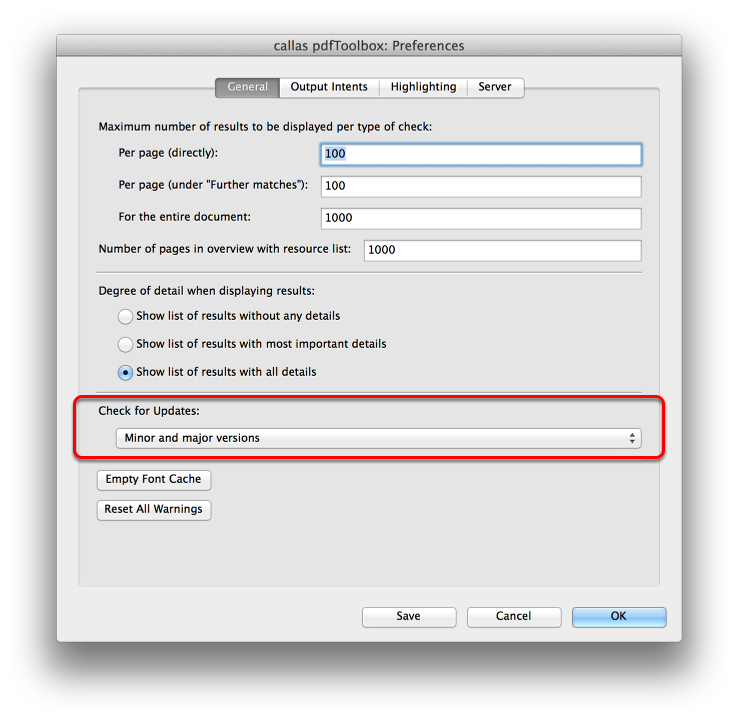 Configure the update check in the preferences
