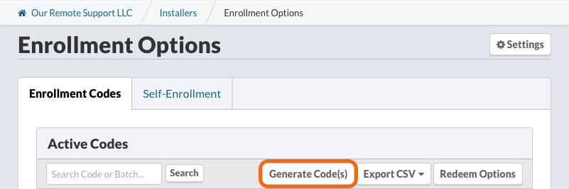 Enrollment Codes > Generate Enrollment Codes