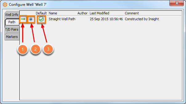 Select deviation/checkshot/marker from well configuration
