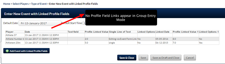 N.B. Because Profile Forms are NOT entered in group entry mode, when an Event Form with Linked Profile Fields is entered in Group Entry Mode the Manual Update buttons will NOT appear