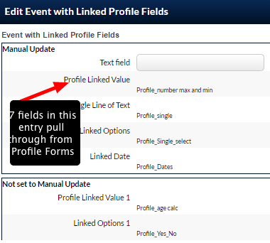 This Event form is set up with fields that link to Profile Form Fields