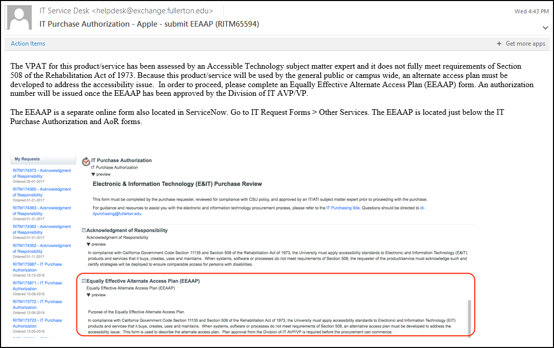 Submit EEAAP email notification