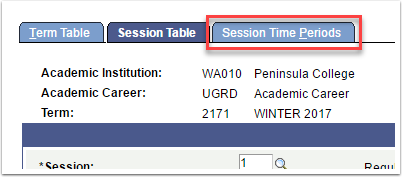Session Time Periods tab