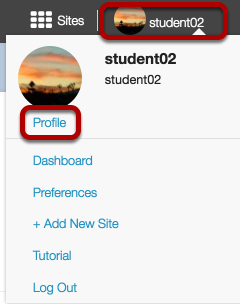 Or, select your username/photo in the top right corner.