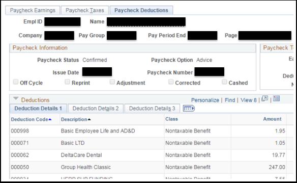Paycheck Deductions tab