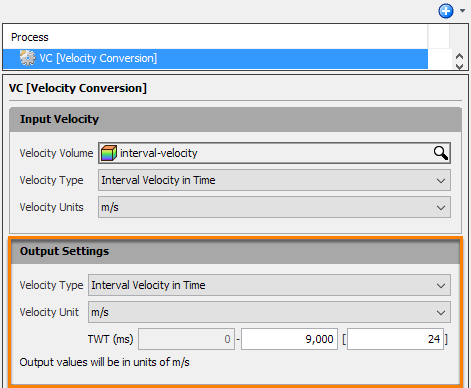 Define output velocity settings