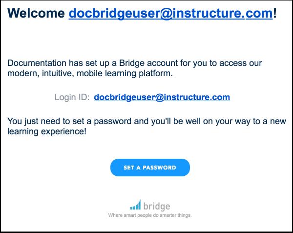 Voir l'invitation de compte de Bridge