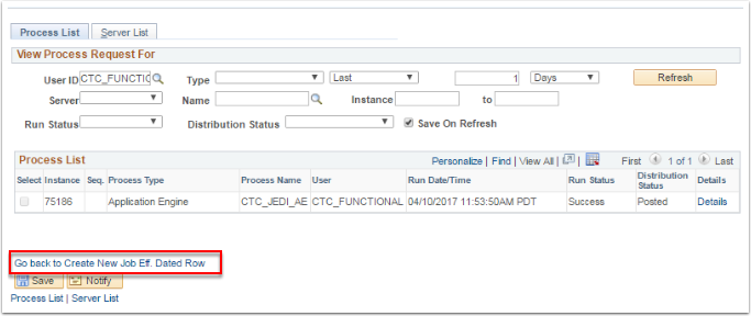 Process List tab and Go back to Create New Job Eff Dated Row link