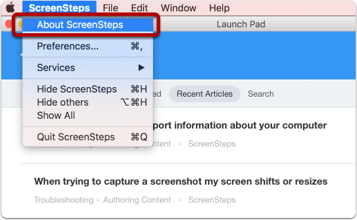 ScreenSteps menu