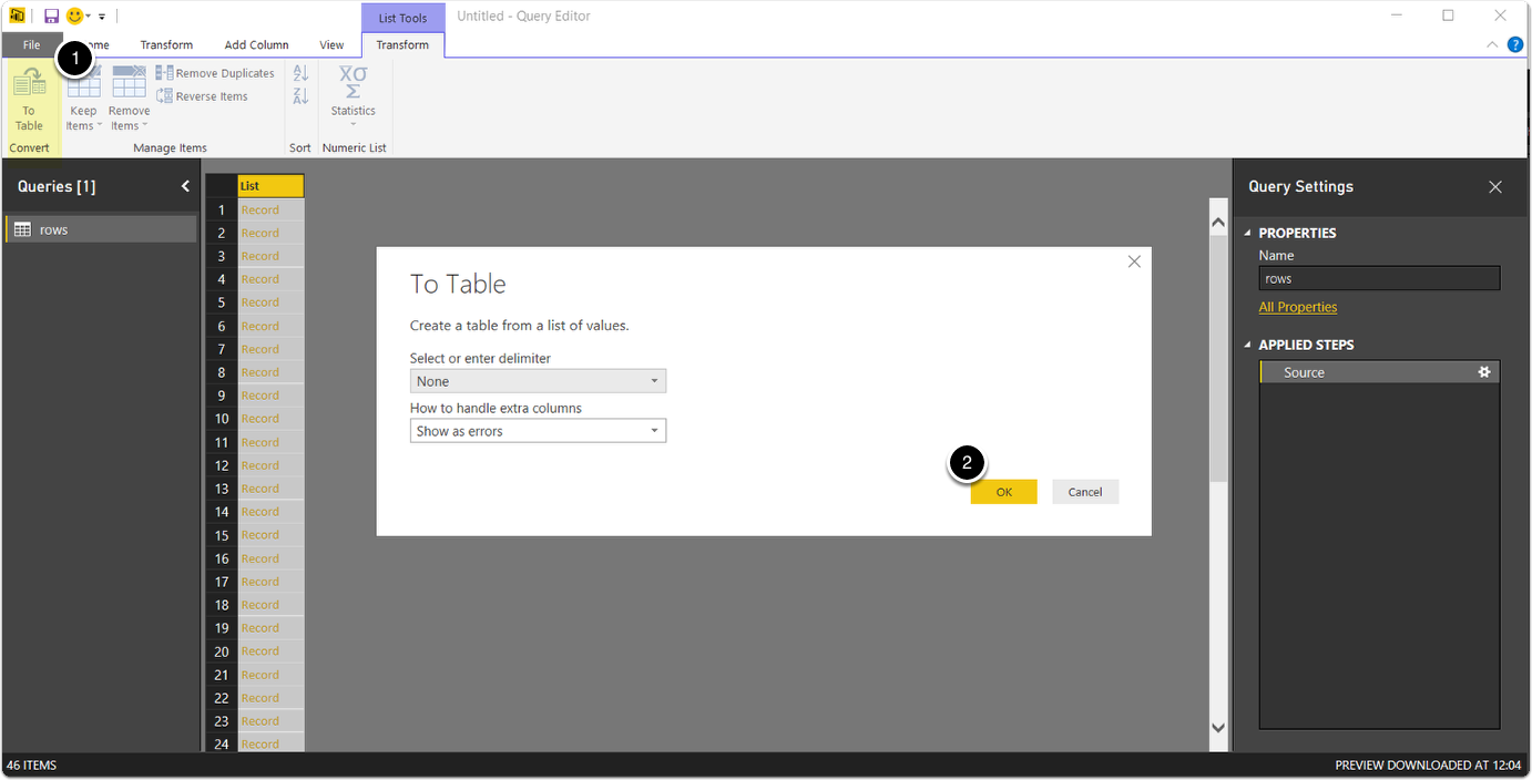 Convert list to table in Power BI