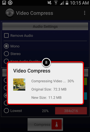 Step 4: View Compressed Video Size