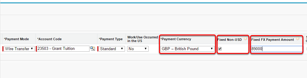 Choose the payment currency, mark the Fixed non-USD box, and enter the amount of the payment, fixed in the currency chosen in the dropdown menu.