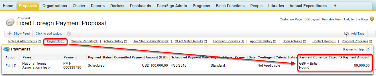 Check the saved payment and the fixed currency amount on the proposal record.