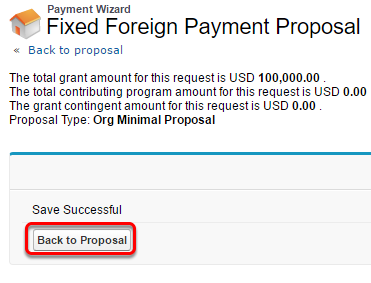 Click the Back to Proposal button.
