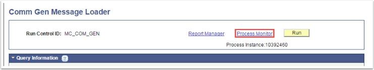Process Monitor link on Comm Gen Message Loader