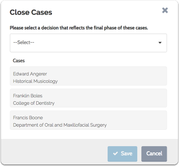 Select a decision from the dropdown menu indicating the final status of the selected cases