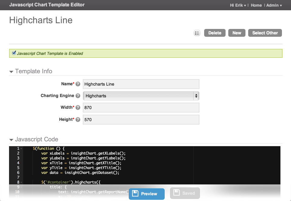 JavaScript Chart Template Editor