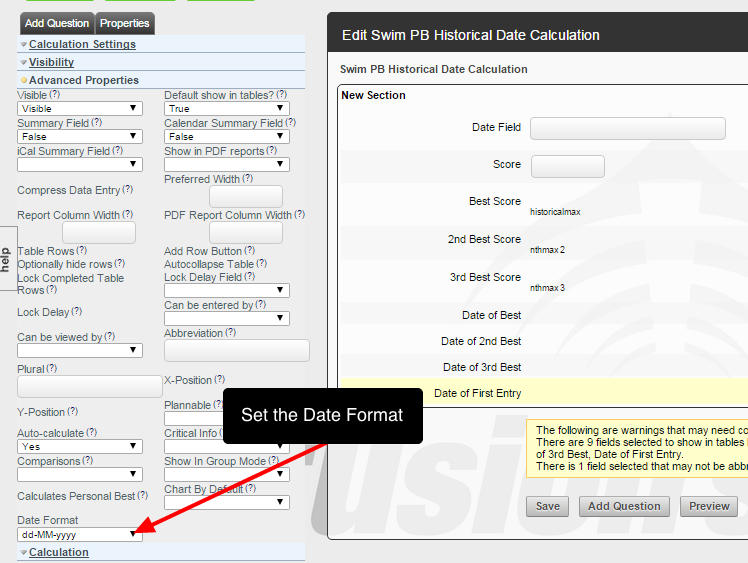 Remember to set up the Advanced Properties, in particular the date format that the historical field needs to appear as