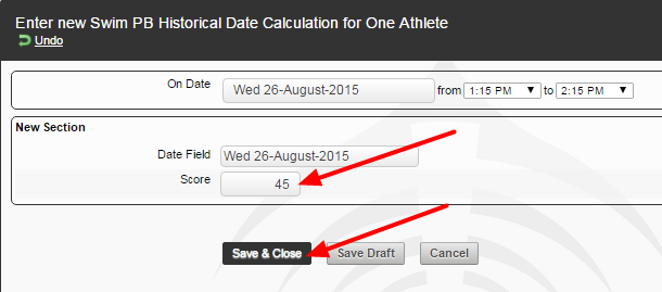 When data is entered into the system and saved, the historical calculation will run. The date matching Best Score will be shown on the athlete history page, or can be viewed in the form if save and continue are added to the form.