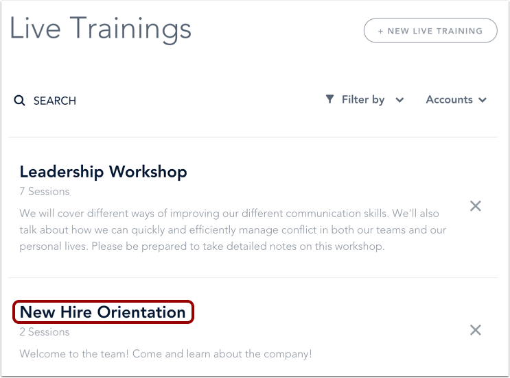 Open Live Training Course