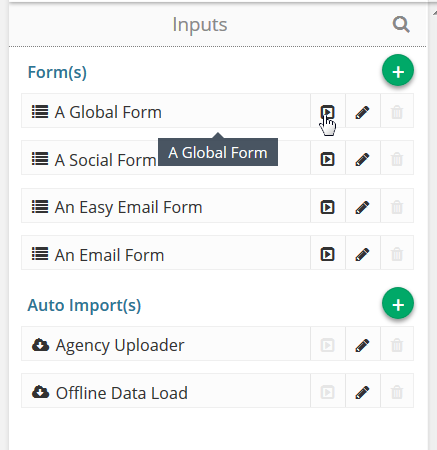 Select which form you wish to open from the inputs segment and click run.