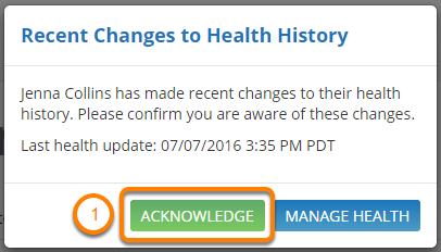 Acknowledge Recent Changes to Health History