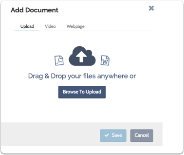 """Enter a name for the document and a description of the kind or category, select your file, and click """"Save"""""""